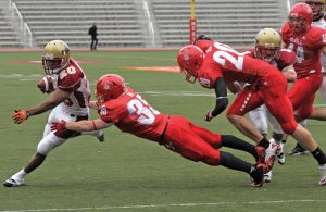 Edem Nyamadi and the Stingers offence ran wild on McGill. Nyamadi had 53 yards rushing on just six carries. Photo by Navneet Pall