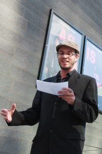 MONTREAL, QUE: SEPT. 21 2015 -- Simon Van Vliet , Presi dent of AJIQ, talking during the press conference on police violence against journalist at Montreal, on Monday, Sept., 2015. Photo by Marie-Pierre Savard.
