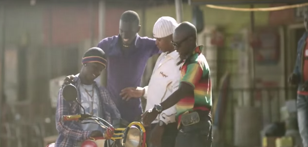 Abel on the boda boda that the plot is centred around. Photo still taken from The Boda Boda Thieves.