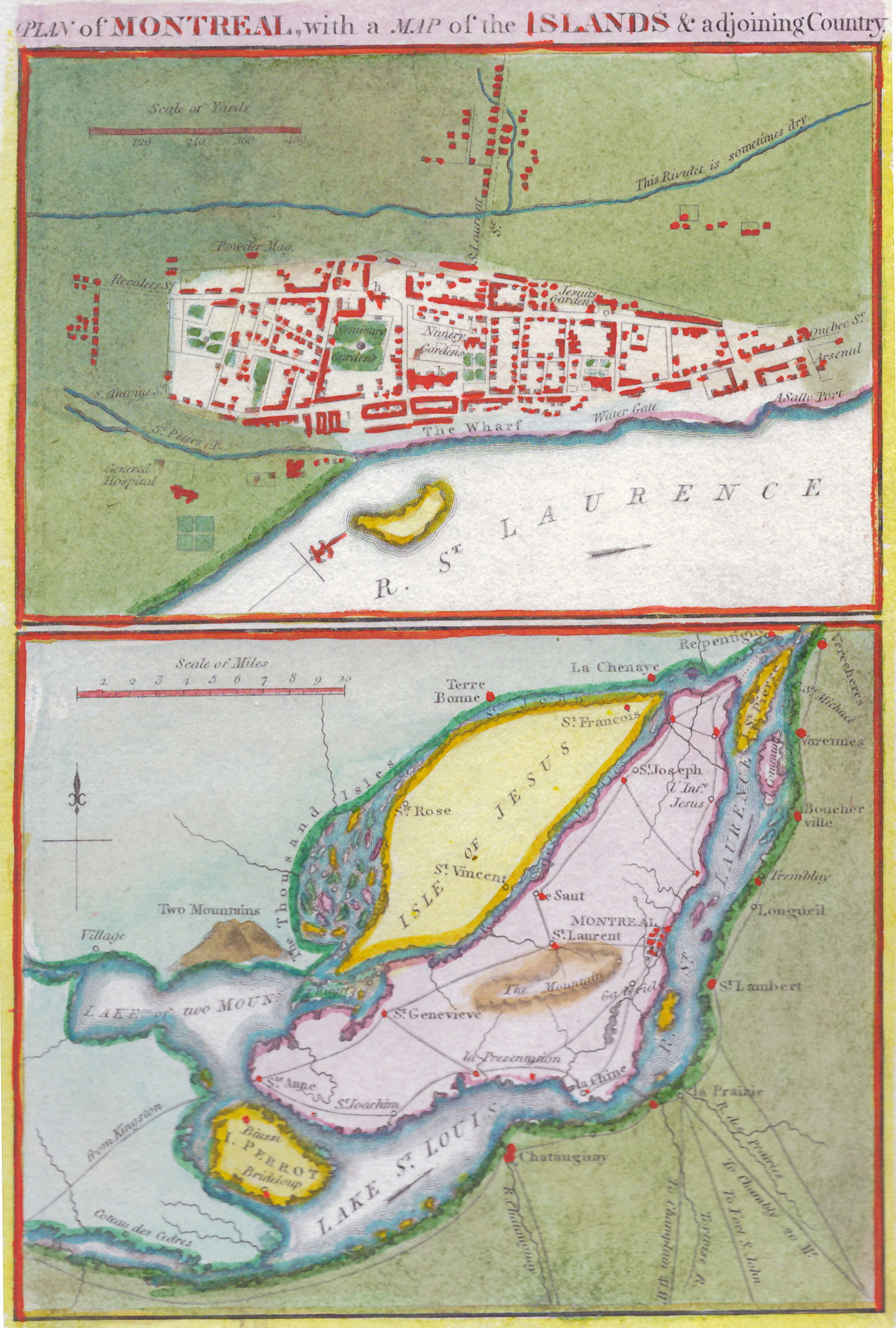 The 1815 map by John Melish is historical (not contemporary to the date published) and from a military atlas. It is interesting since it also shows the region around Montreal but the actual Old Montreal map dates from 1760. Photos courtesy of David Chandler and Stanley Sklar.