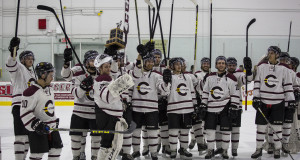 The Concordia Stingers celebrate their Corey Cup victory after the defeating the Redmen 4-2. Photo by Brianna Thicke.