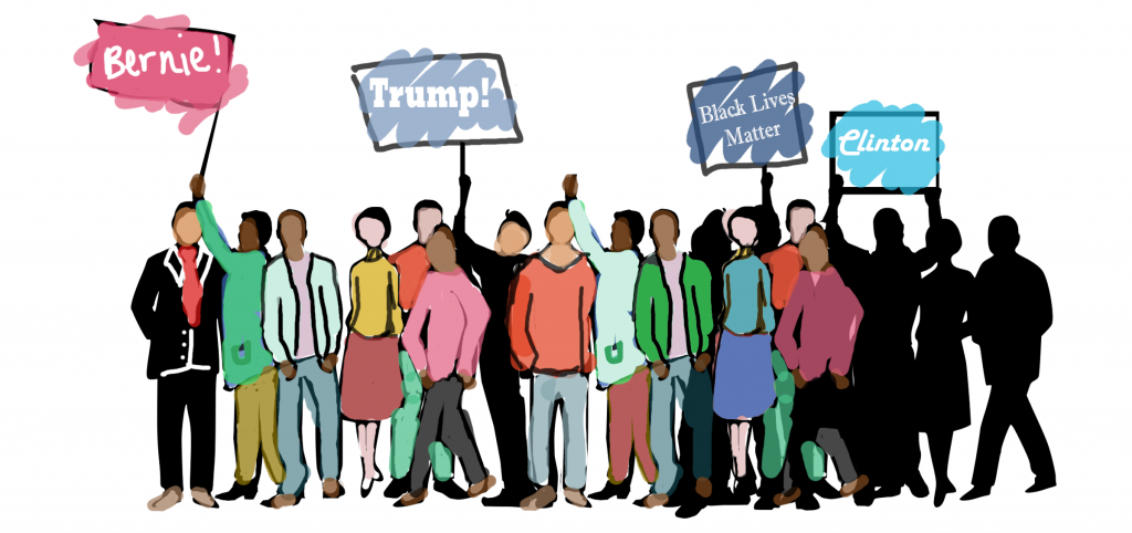 Concordia community members from all sides of the political spectrum react to the winning of Trump in U.S. presidential elections. Graphic by Florence Yee.