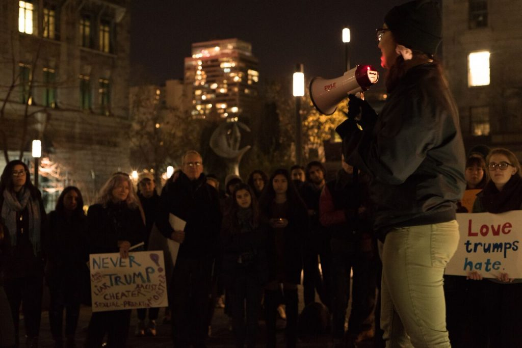 Student mobilize on McGill campus on Friday, Nov. 18. Photo by Ana Hernandez.