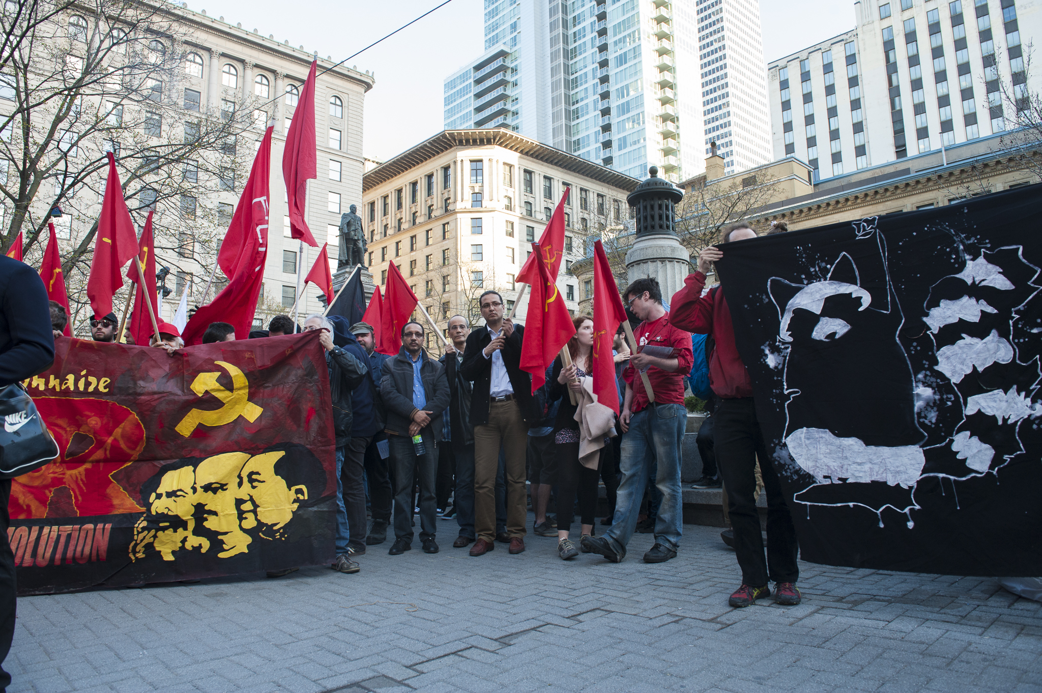 Different groups gathered at Phillips Square on to protest capitalism and austerity on May Day. - A.I.