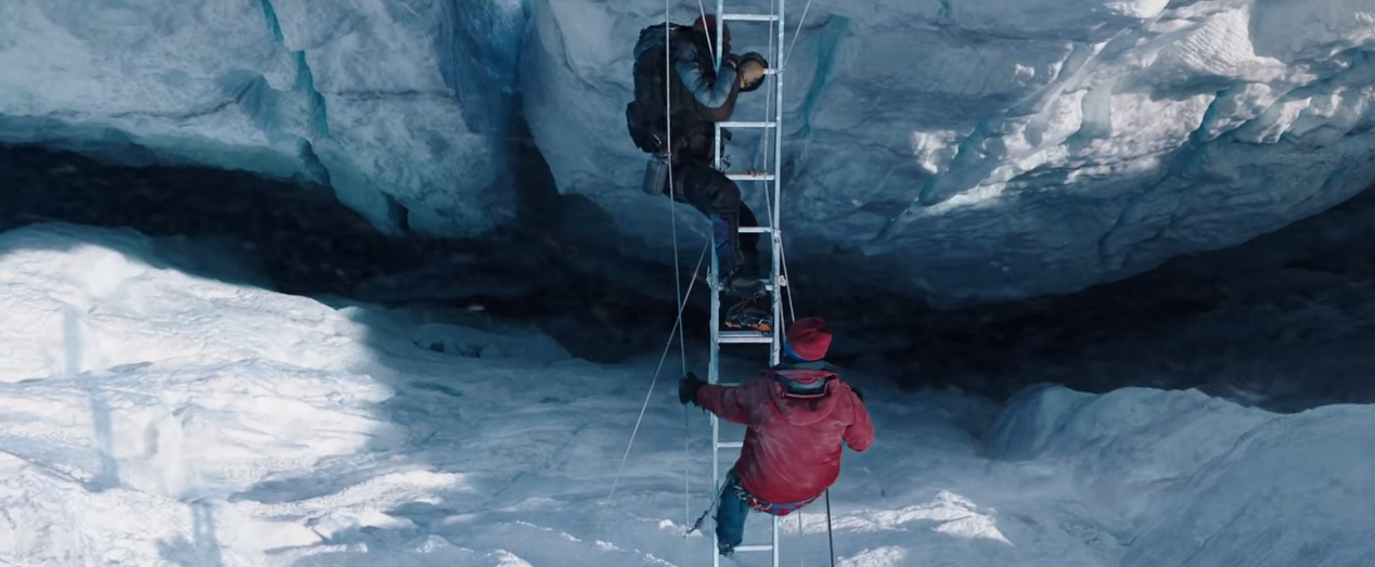 Close calls for long falls, hold on tight. Photo still taken from Everest.