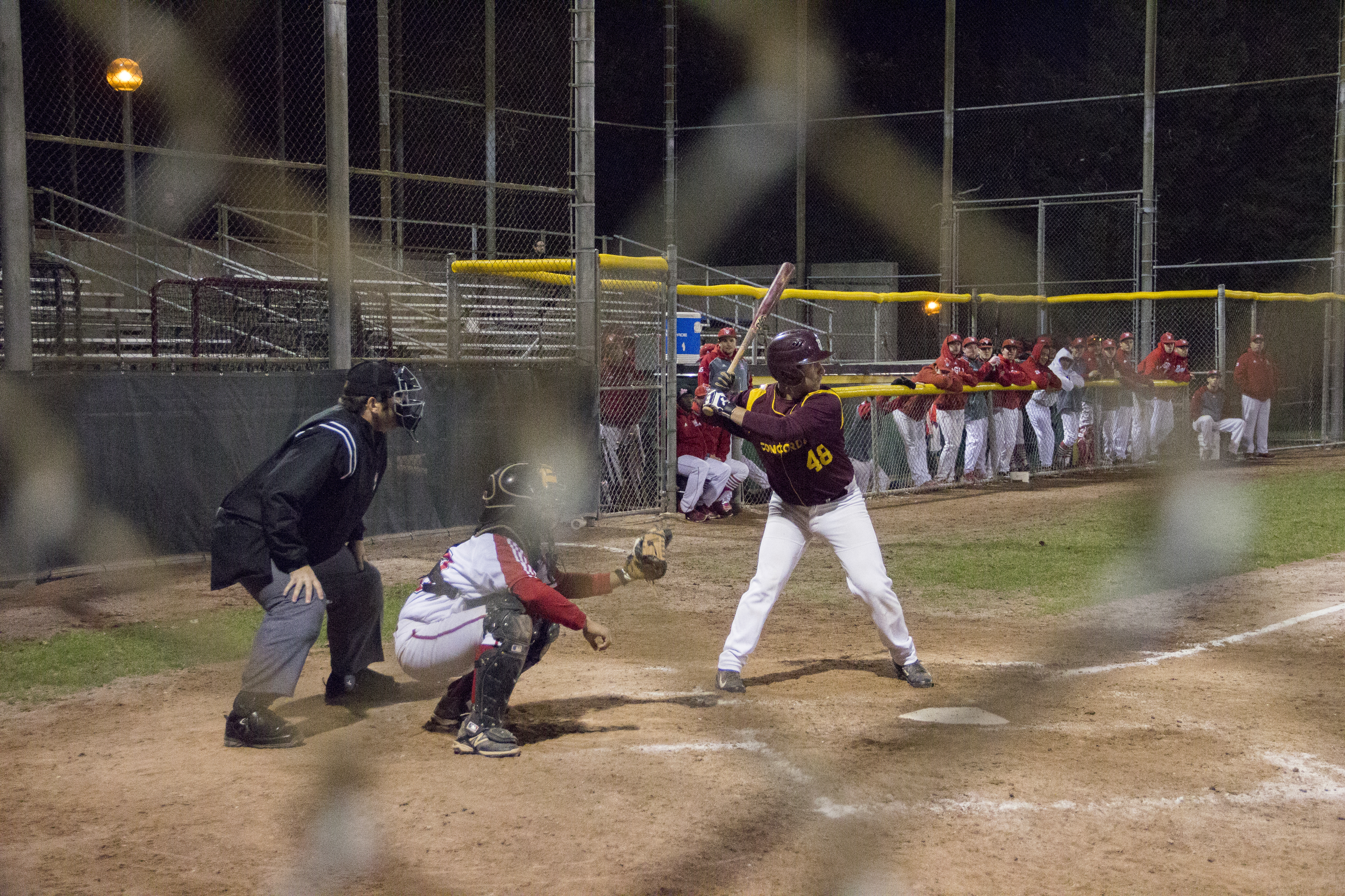 Concordia's Dario Vincelli up at the plate in Thursday's home loss. Photo by Michael Maclean.