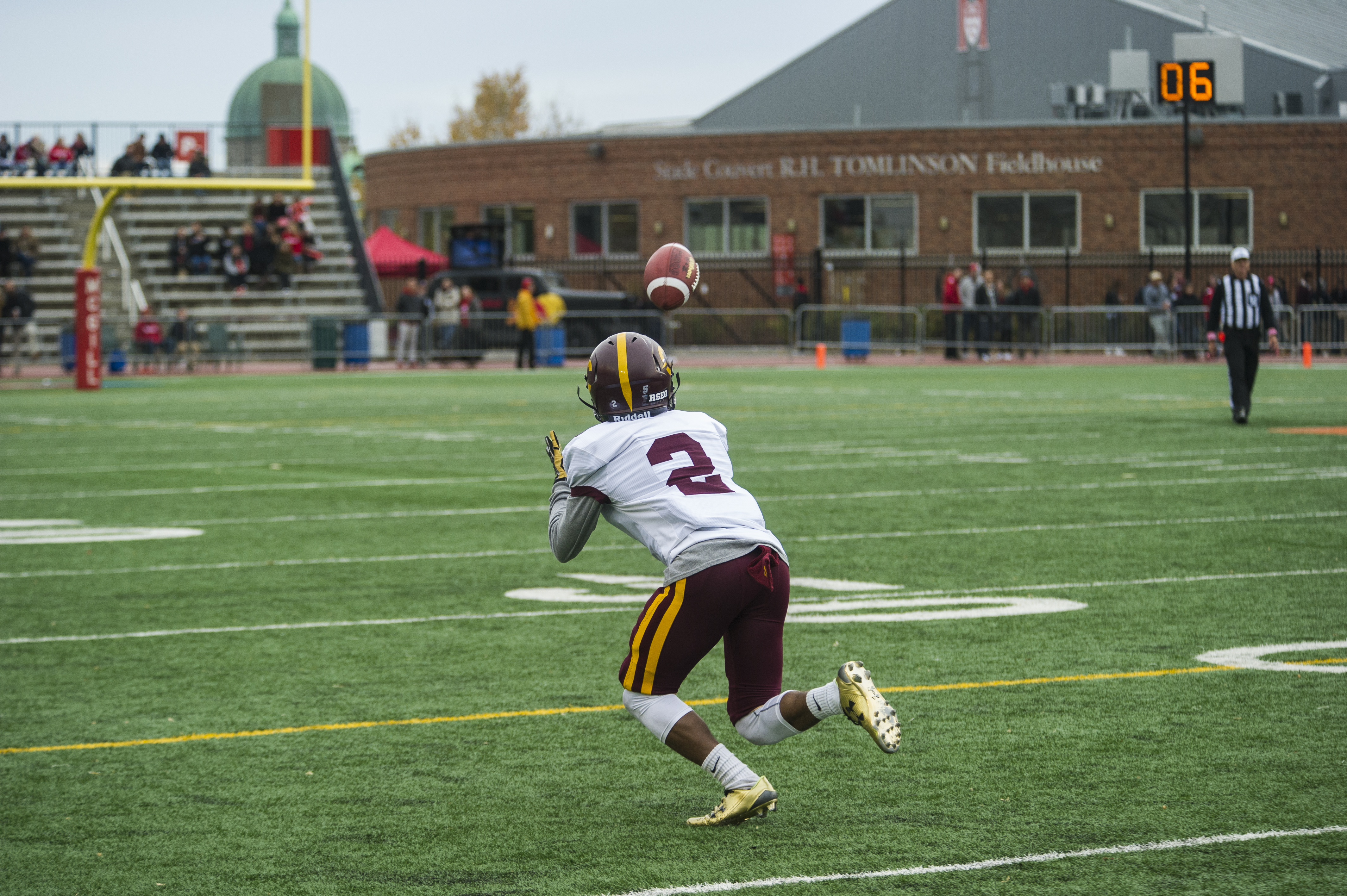 Justin Julien prepares to catch a pass with no men around him. Photo by Andrej Ivanov.