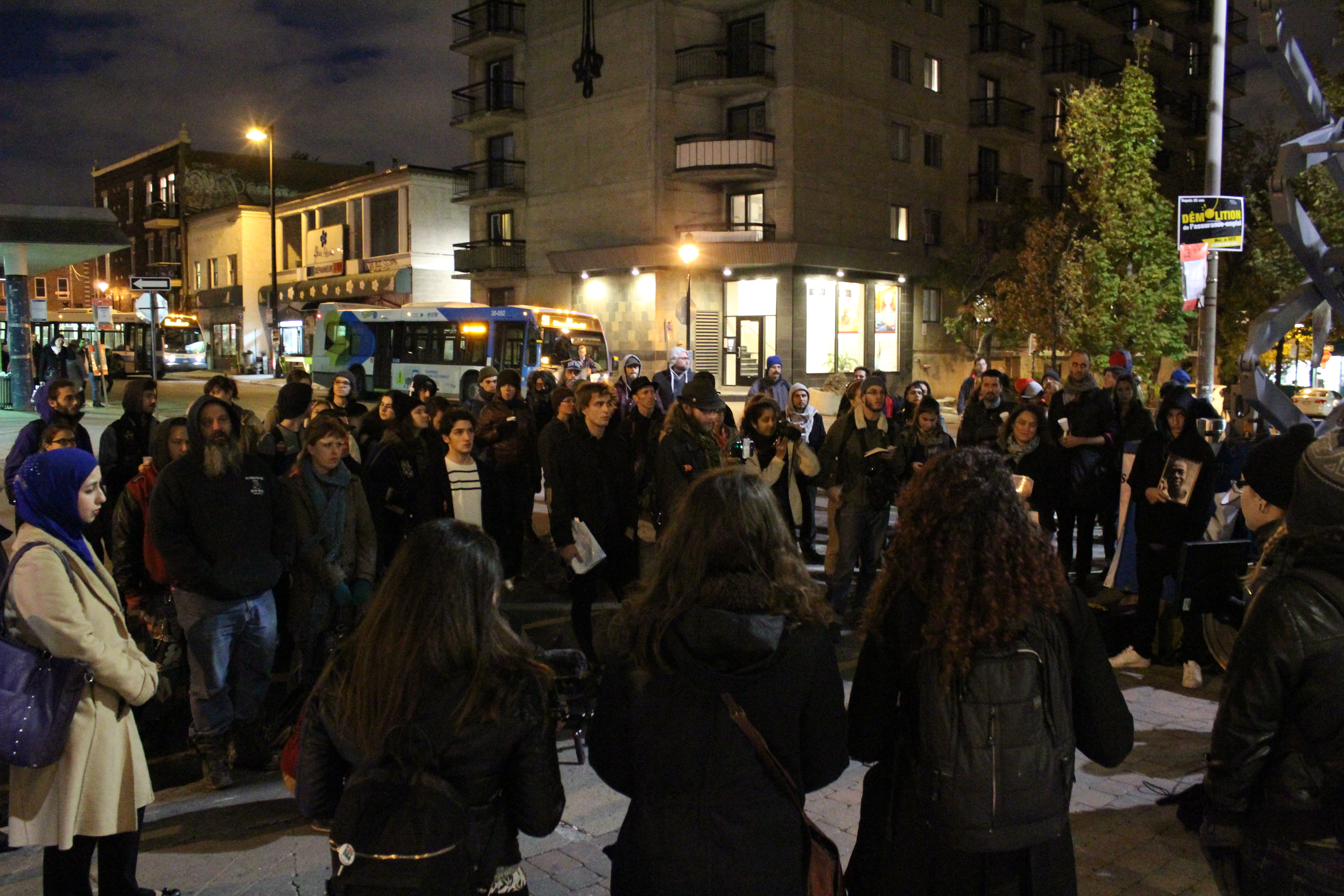 Dozens attended the sixth-annual vigil in Montreal for victims of police killings. Photo by Gregory Todaro.