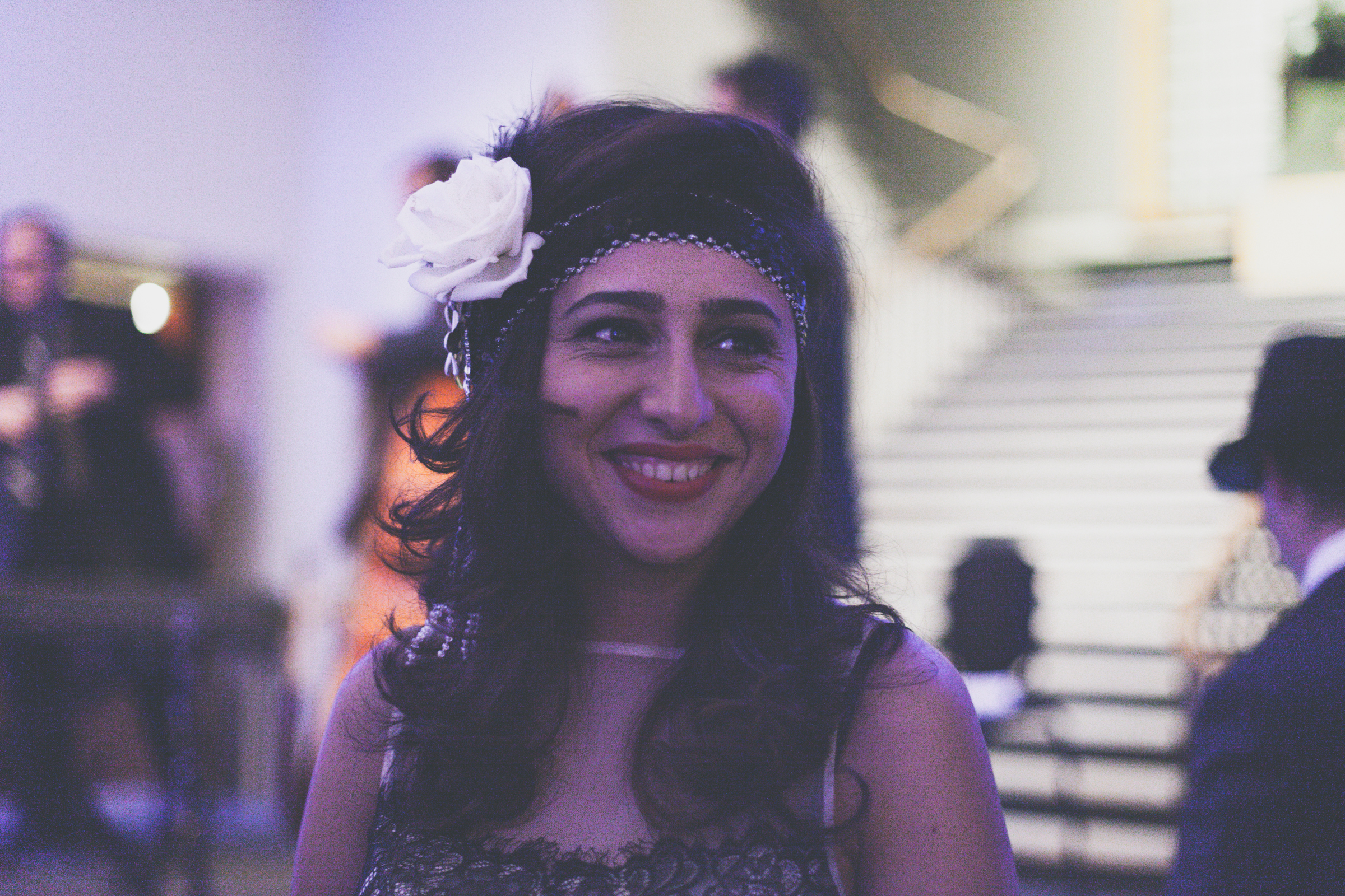This jolly museum-goer could easily pass for a 1920s belle. Photo by Marie-Pierre Savard.