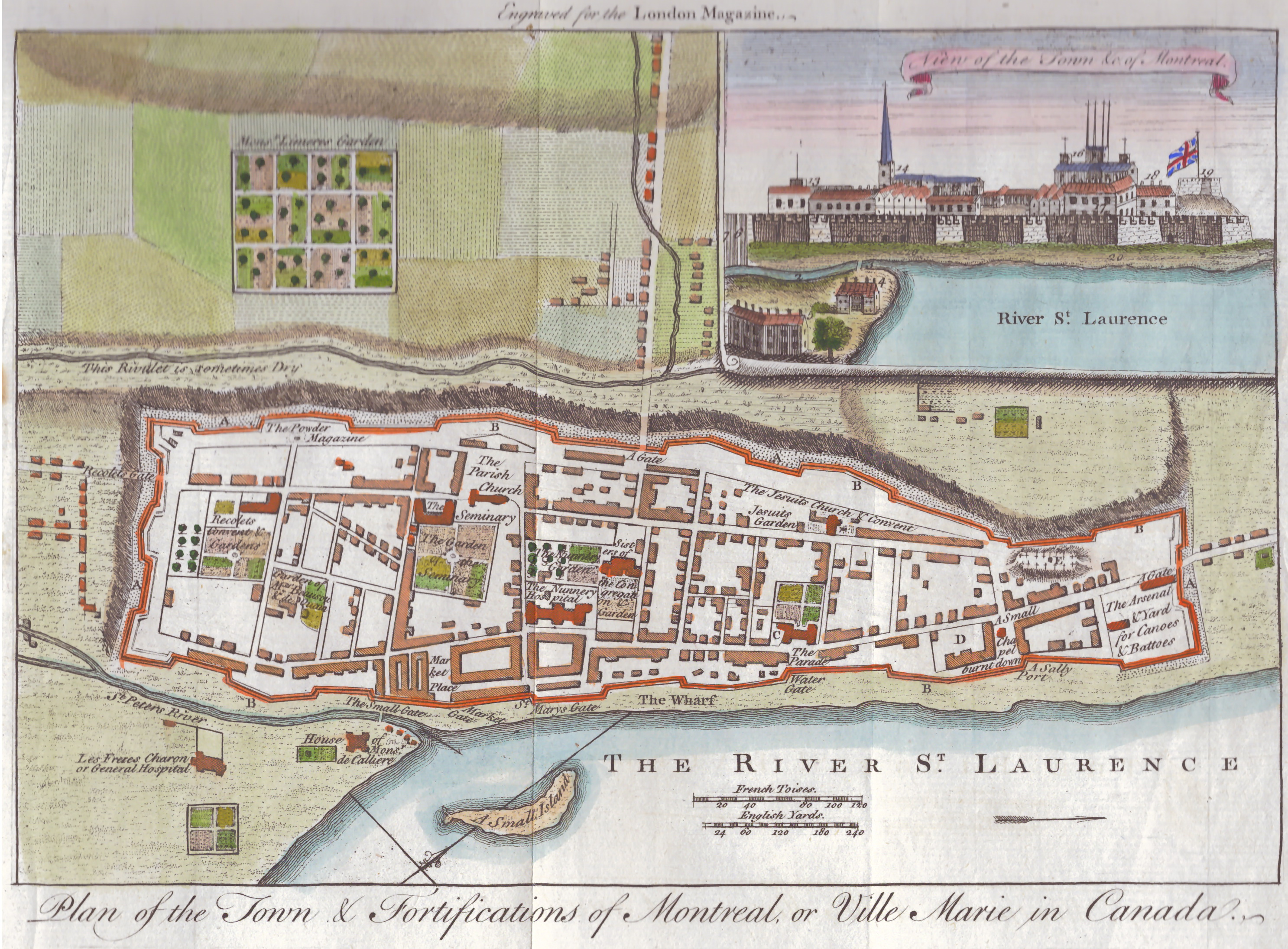 The 1760 map was published in a British periodical, London Magazine, just a month after the surrender of Montreal in September 1760. The slightly exaggerated inset view of Montreal shows how it was more or less impossible to defend the city since it was on a hill inside the fortifications. Many of the streets remain much the same today. Photos courtesy of David Chandler and Stanley Sklar.