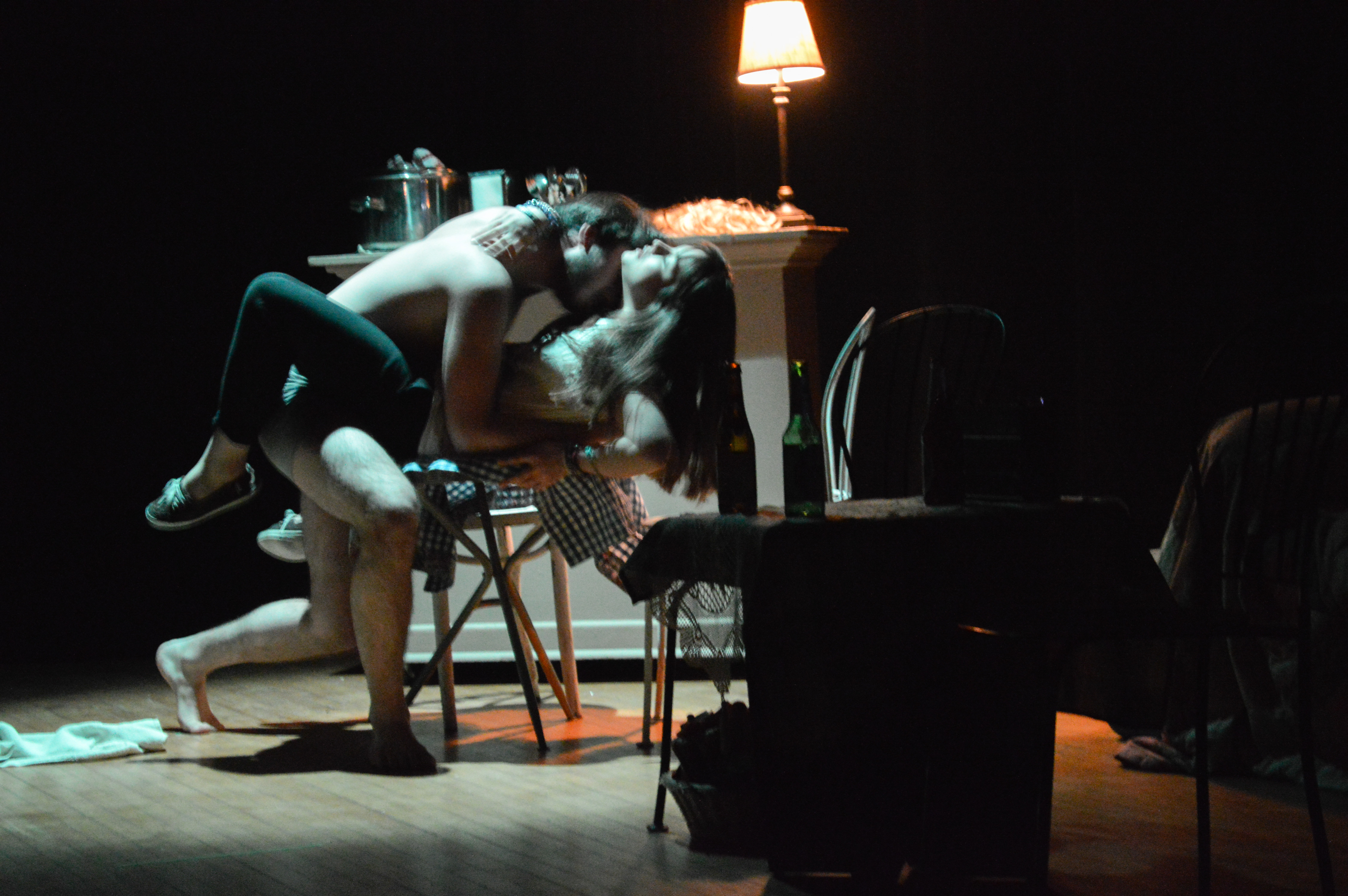 Dennis (Jérémy Benoit) and June (Camille Banville) succumb to passion. Photo by Marina Miller.