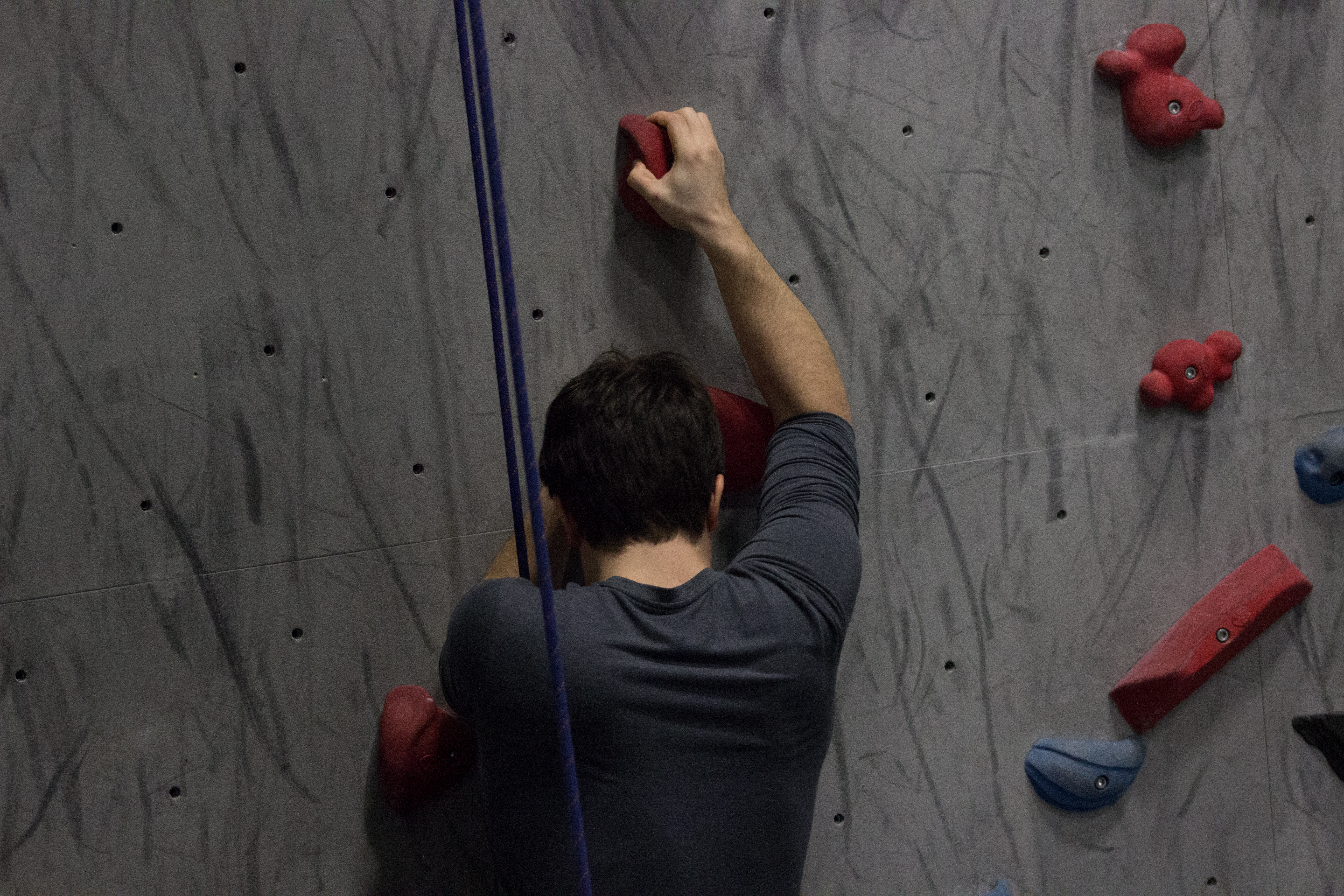 A climber makes their way up the wall. Photos by Melissa Martella.