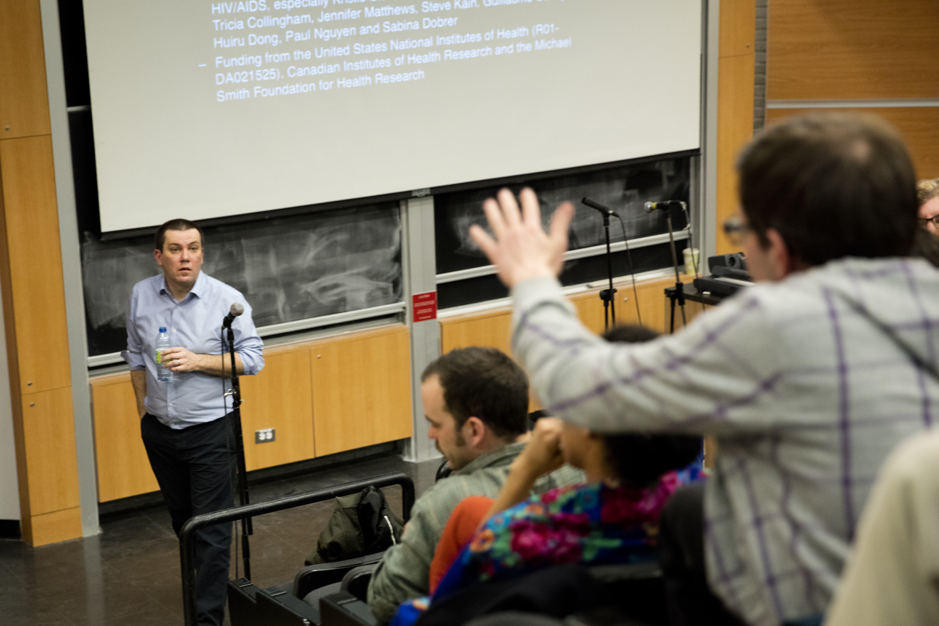 M.J. Milloy discusses ending HIV in the Leacock building at McGill University. Photo by Marie-Pierre Savard.