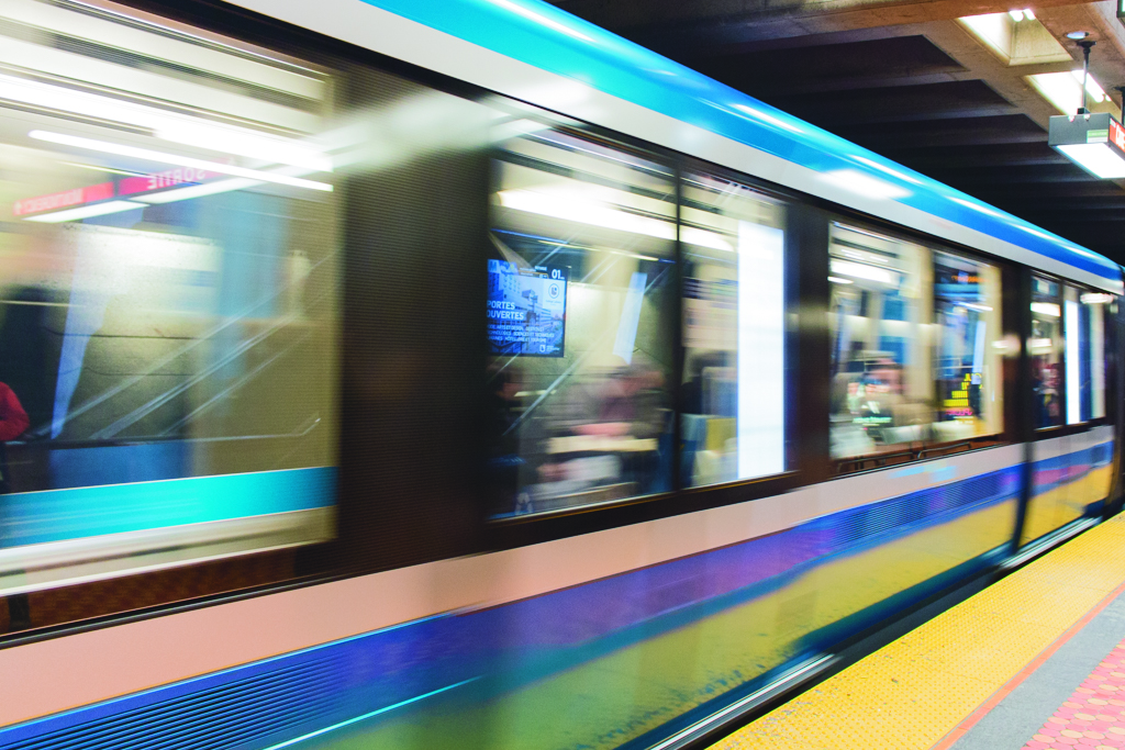 The AZUR metros are slowly replacing Montreal's old metro cars. Photo by Kelsey Litwin.