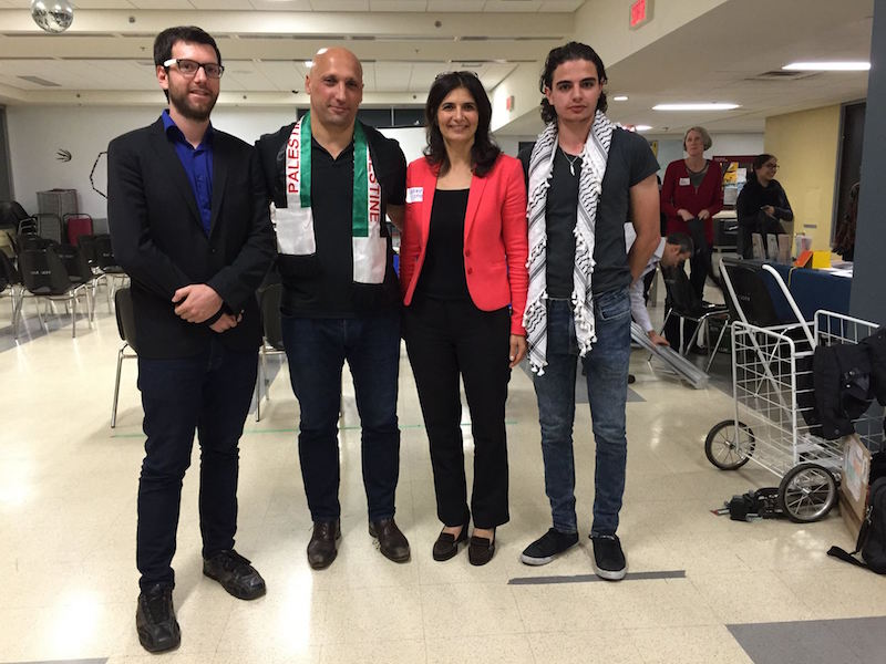 BDS Town Hall panelists include Alex Tyrrell, Dimitri Lascaris, Grace Batchoun and Rami Yahia. (From left to right)